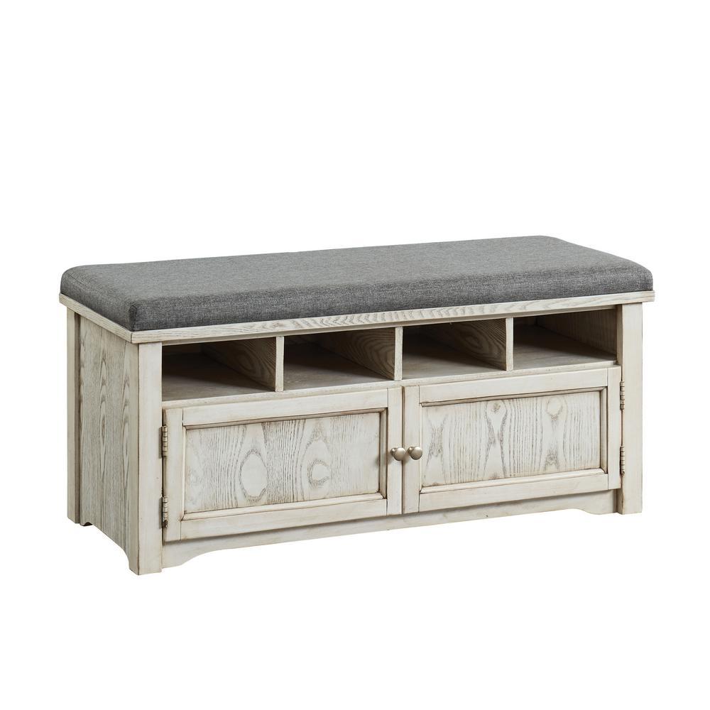 c546d843b9 Furniture of America Janis Weathered White 4 Shelf Shoe Rack Bench ...