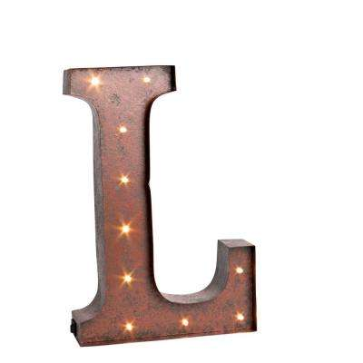 """12 in. H """"L"""" Rustic Brown Metal LED Lighted Letter"""