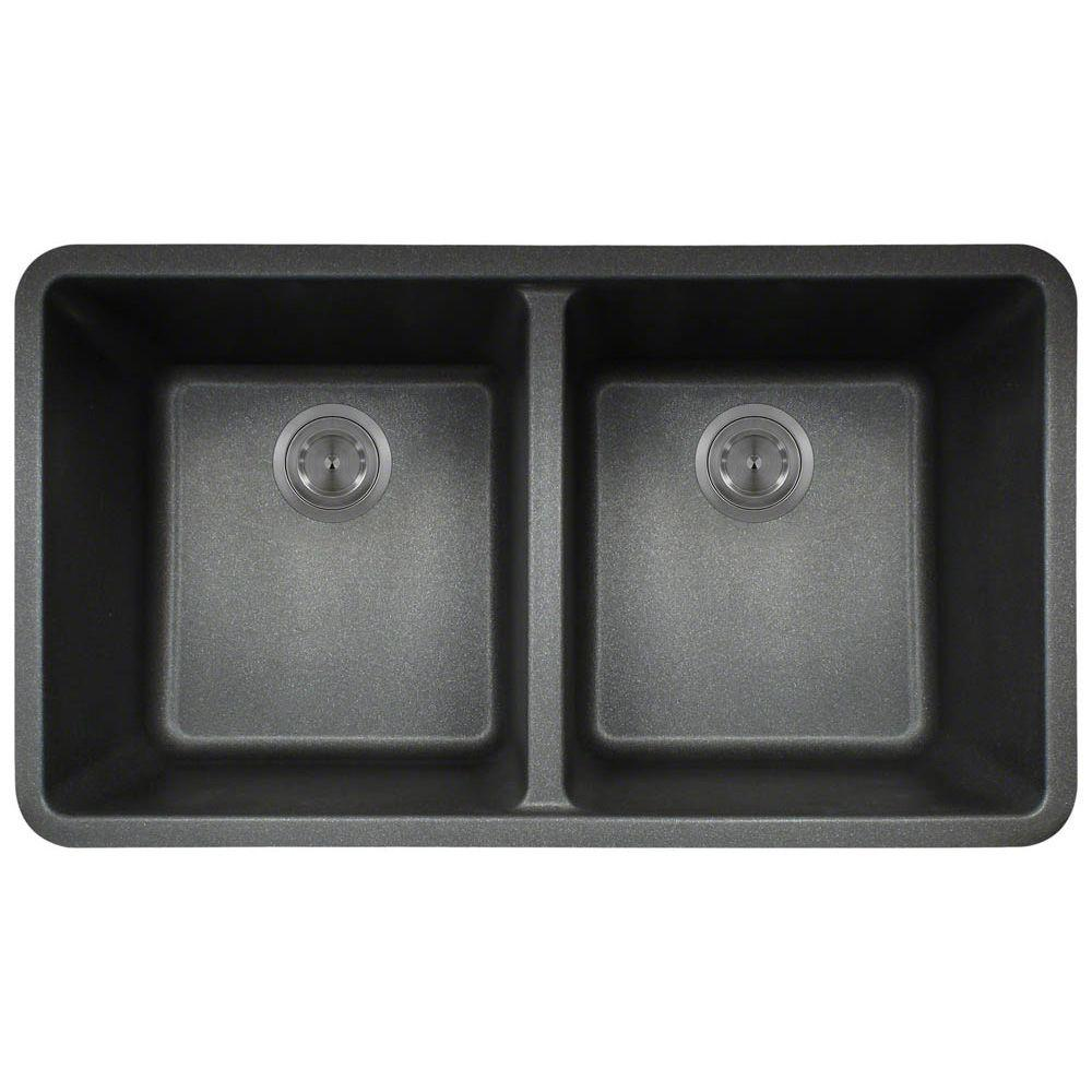 Undermount Composite 33 in. Double Bowl Kitchen Sink in Black