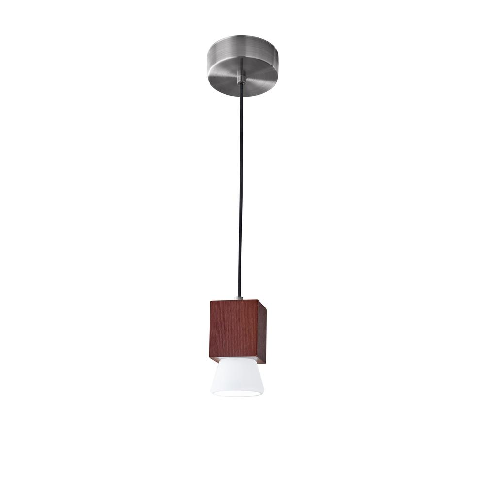 51.5 in. 5-Watt Brown and Silver Burlington Integrated LED Pendant ...