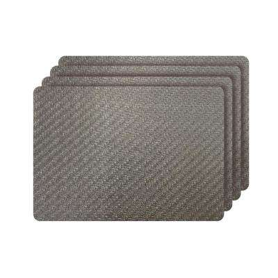 Cambria Bronze Metallic Faux Leather Rectangular Placemats (set of 4)