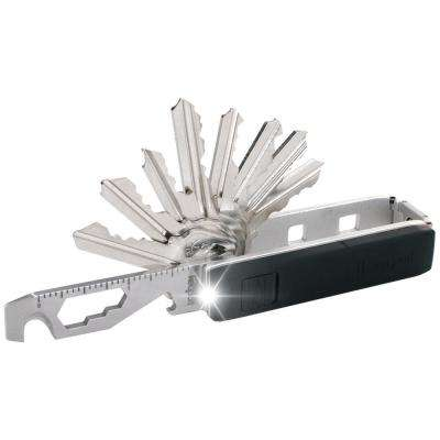 Pivot Essential Bundle Key Organizer Multi-Tool with Mini-Flashlight and KeyportID Lost and Found Service (Silver)