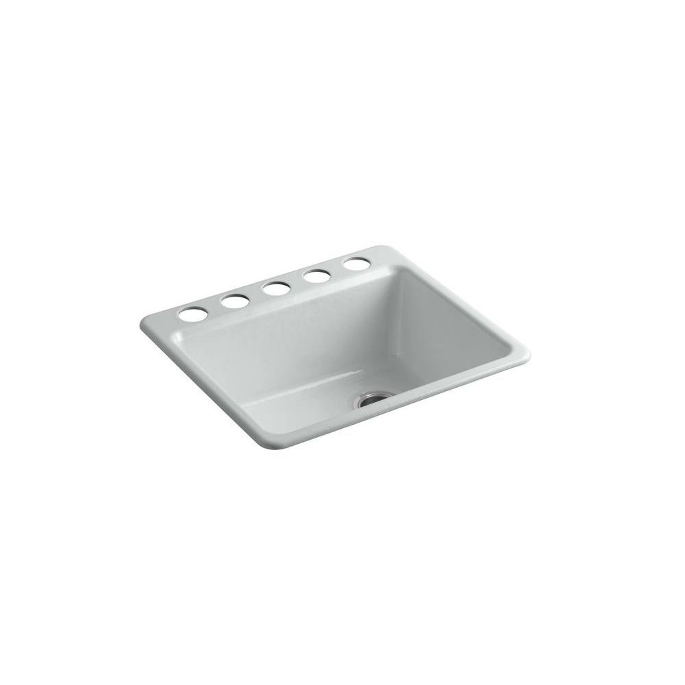 Kohler riverby undermount cast iron 25 in 5 hole single bowl kitchen sink kit with bowl rack in - Kohler kitchen sink colors ...