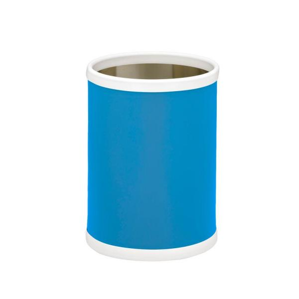Bartenders Choice Fun Colors Process Blue 8 Qt. Round Waste Basket