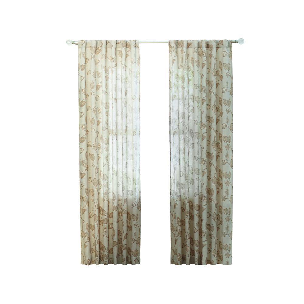 Taupe Leaf Back Tab Curtain
