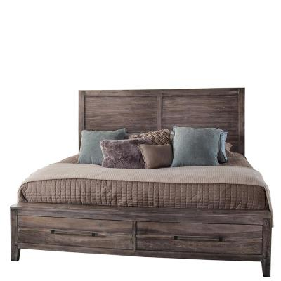 Aurora Weathered Gray Queen Panel Bed with Storage