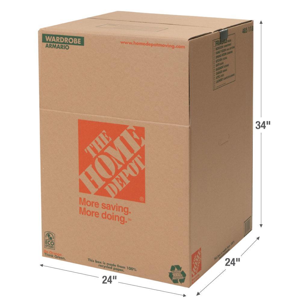 The Home Depot 24 in. L x 24 in. W x 34 in. D Wardrobe Box with Metal Hanging Bar