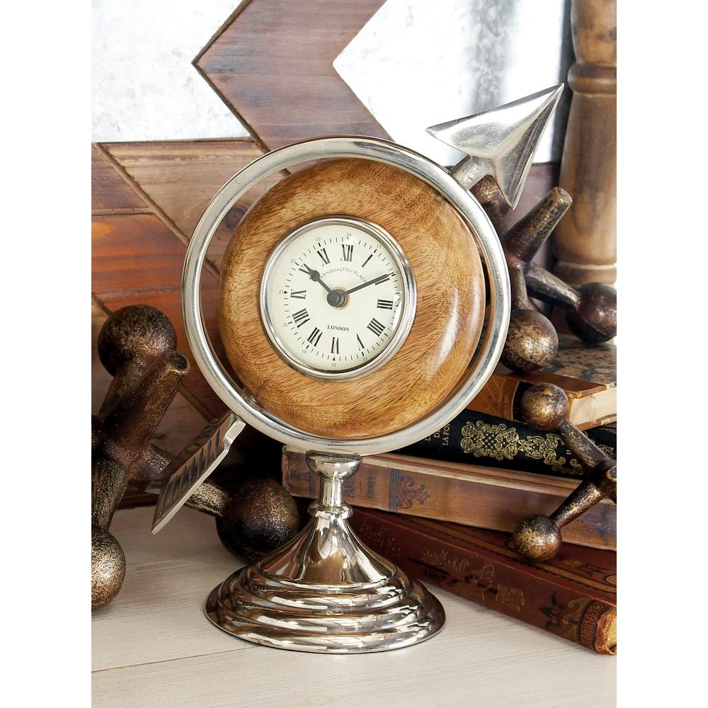 11 in. x 7 in. Multi Round Table Clock with Arrow