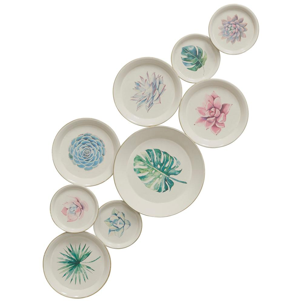 StyleCraft Metal Botanical Painted Plates Multicolored Metal Work was $124.99 now $47.92 (62.0% off)