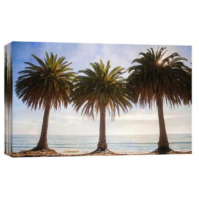 10 in. x 12 in. ''Three Palm Trees '' Printed Canvas Wall Art