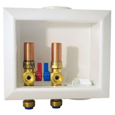 1/2 in. Brass Push-to-Connect x 3/4 in. Male Hose Thread Washing Machine Outlet Box with Water Hammer Arrestors
