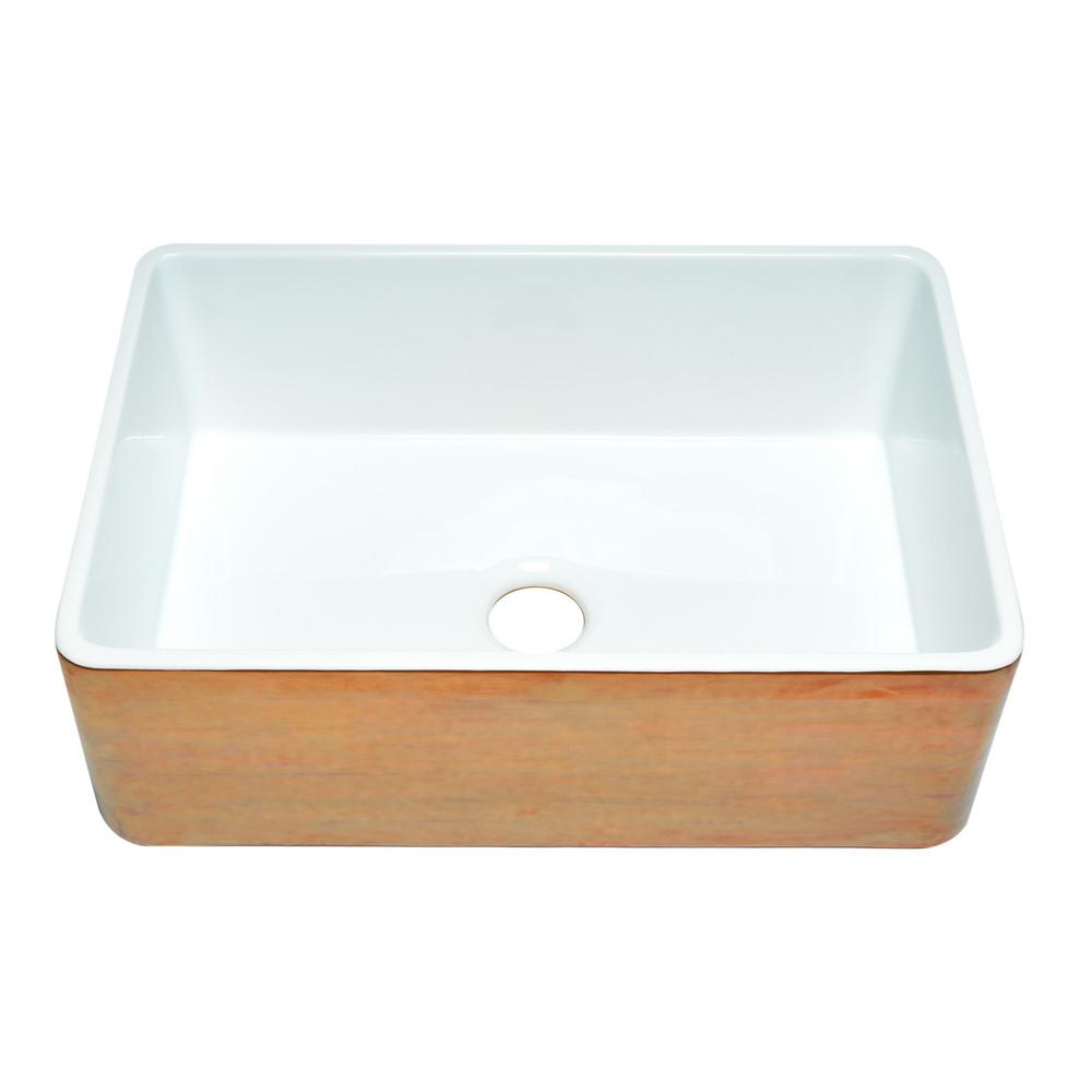 Alfi Brand Farmhouse Fireclay 30 In Single Bowl Kitchen Sink Hammered Copper