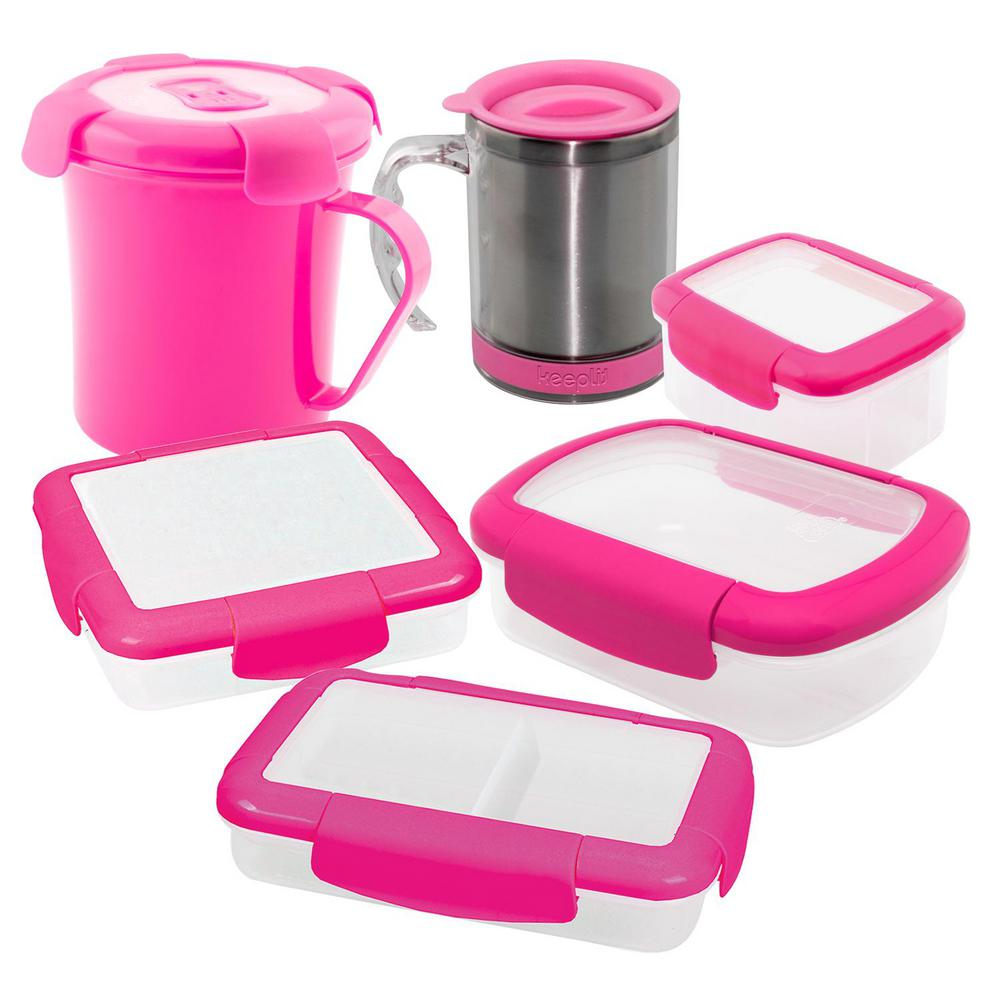 6-Piece Food Storage Container Assorted Pack in Pink