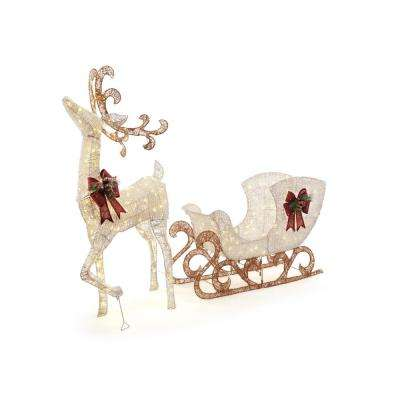 60 in. 160-Light PVC Deer and 44 in. 120-Light Sleigh 8 ft.