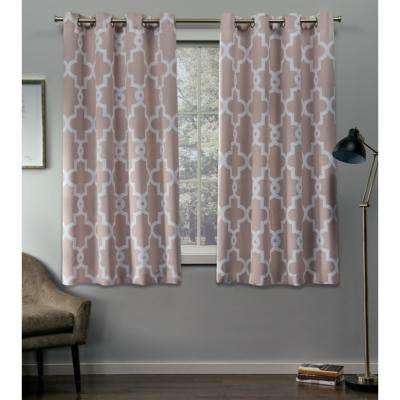 Ironwork 52 in. W x 63 in. L Woven Blackout Grommet Top Curtain Panel in Blush (2 Panels)