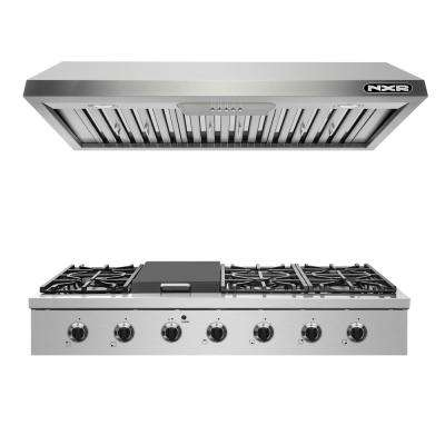 Entree Bundle 48 in. Pro-Style Liquid Propane Cooktop with Griddle Burner and Range Hood in Stainless Steel and Black