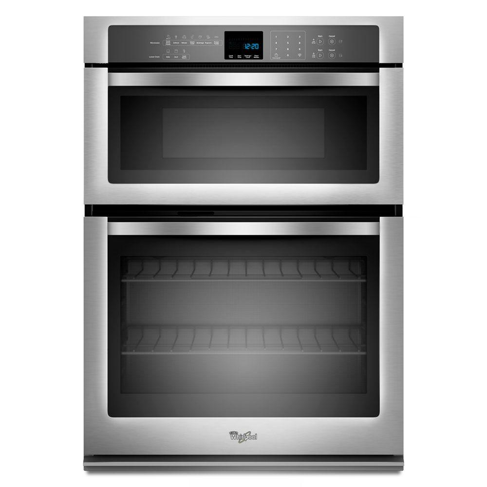 whirlpool 27 in electric wall oven with built in microwave in stainless steel woc54ec7as the. Black Bedroom Furniture Sets. Home Design Ideas