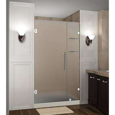 Nautis GS 40 in. x 72 in. Frameless Hinged Shower Door with Frosted Glass and Glass Shelves in Stainless Steel