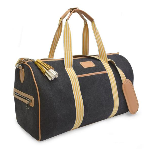 502f2d62134 ADRIENNE VITTADINI The Canvas Stripe Collection 11 in. Black Lightweight Duffel  Bag