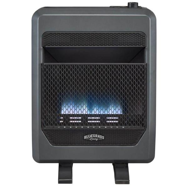 Bluegrass Living T Stat Control 20 000 Btu Vent Free Natural Gas Blue Flame Gas Space Heater With Blower 200087 The Home Depot