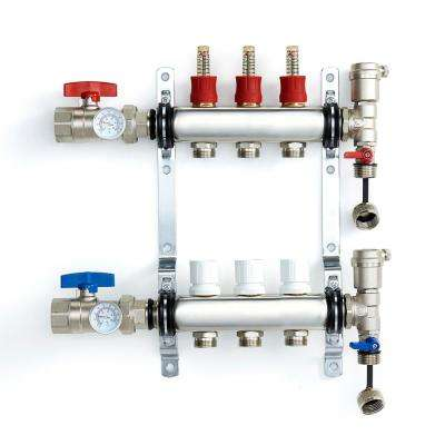 1 in. NPT Inlet x 1/2 in.  Stainless Steel Compression Connection 3-Outlet Radiant Heating Manifold