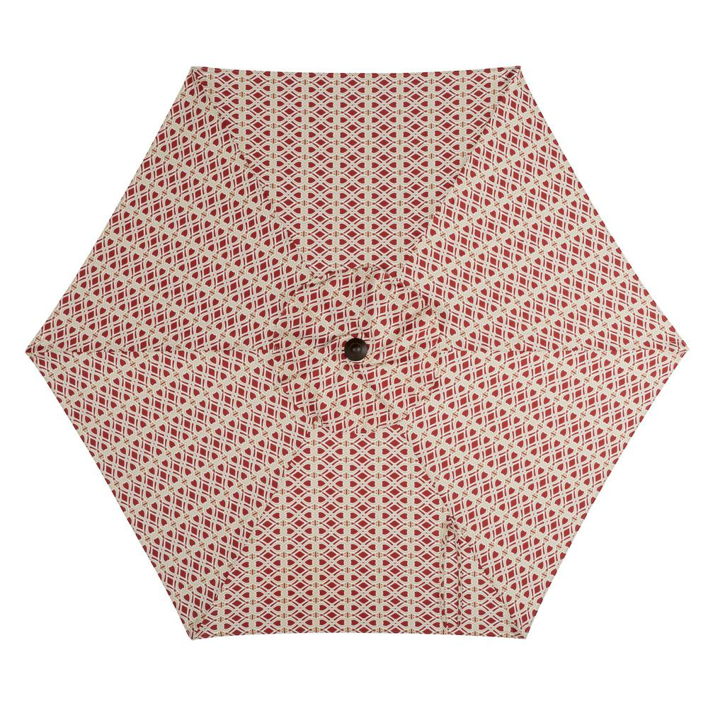 Hampton Bay 7.5 ft. Steel Market Patio Umbrella in Trellis Chili