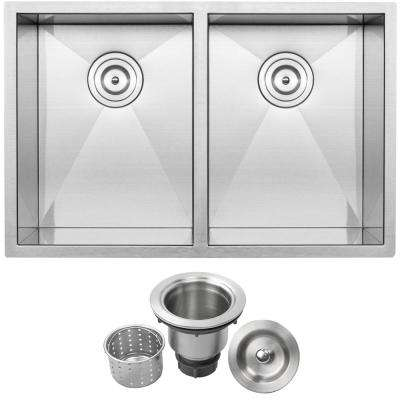 Pacific Zero Radius Undermount Series 16-Gauge Stainless Steel 29 in. Double Basin Kitchen Sink with Basket Strainer