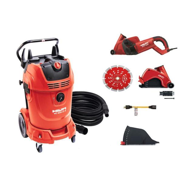 DCH 230 Dry Electric Hand Held 3-3/8 in. Diamond Cutter Kit and VC 300 17X Universal Wet and Dry 17 Gal. Tank Vacuum