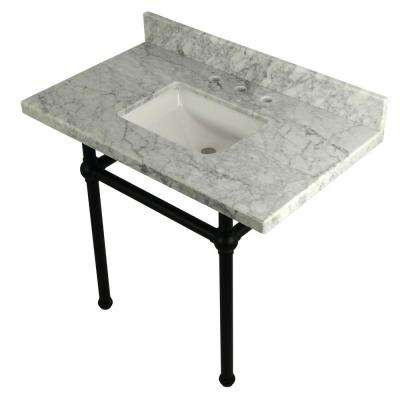 Square-Sink Washstand 36 in. Console Table in Carrara with Metal Legs in Matte Black