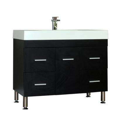 The Modern 39.25 in. W x 18.75 in. D Bath Vanity in Black with Acrylic Vanity Top in White with White Basin