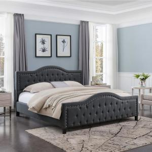 bc3a7c9862ed Noble House Virgil King-Size Tufted Dark Gray Fabric and Wood Bed ...
