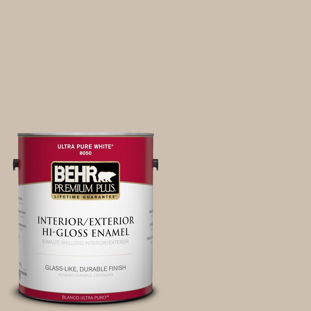 BEHR Premium Plus Home Decorators Collection 1-gal. #HDC-AC-10 Bungalow Beige Hi-Gloss Enamel Interior/Exterior Paint