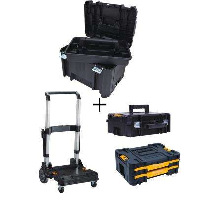 TSTAK VI 17 in. Tool Box, TSTAK II Tool Box, TSTAK IV Organizer and Trolley Storage System Combo Set (4 Components)