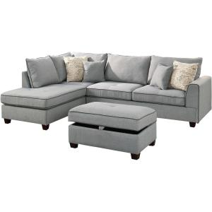 Admirable Venetian Worldwide Siena 3 Piece Sectional Sofa In Light Pabps2019 Chair Design Images Pabps2019Com