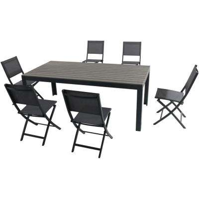 Yuma 7-Piece Aluminum Outdoor Dining Set with 6-Sling Folding Chairs and a Faux Wood Dining Table