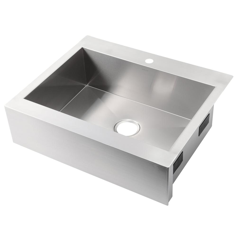 Vault Drop-in Farmhouse Apron-Front Stainless Steel 30 in. 1-Hole Single Bowl