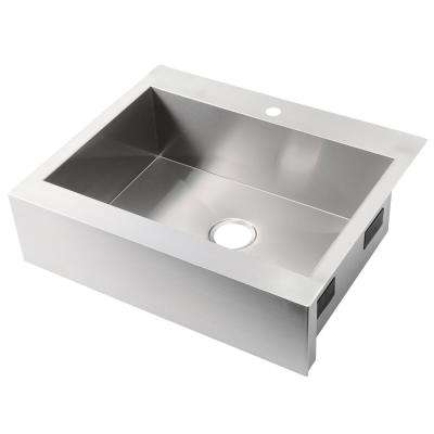 Vault Drop-in Farmhouse Apron-Front Stainless Steel 30 in. 1-Hole Single Bowl Kitchen Sink