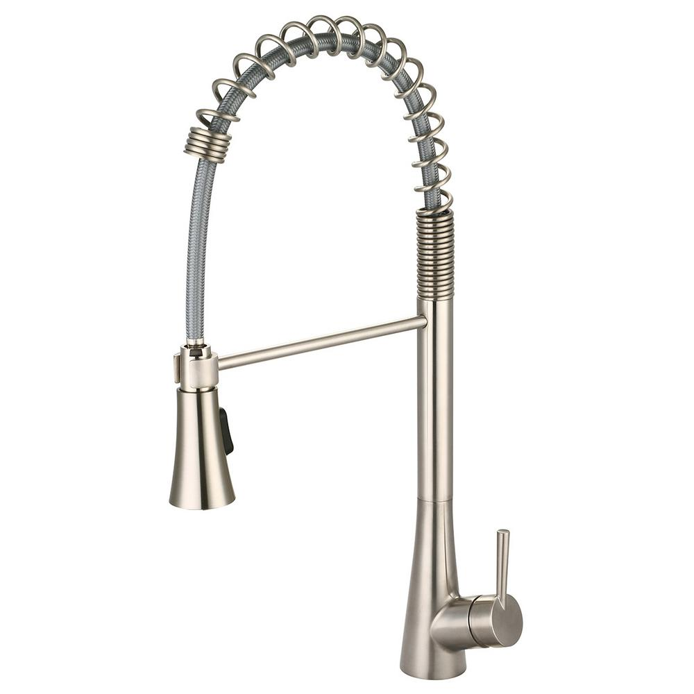 Olympia Faucets i2 Single-Handle Pull-Down Sprayer Kitchen Faucet with Pre-Rinse Sprayer in Brushed Nickel