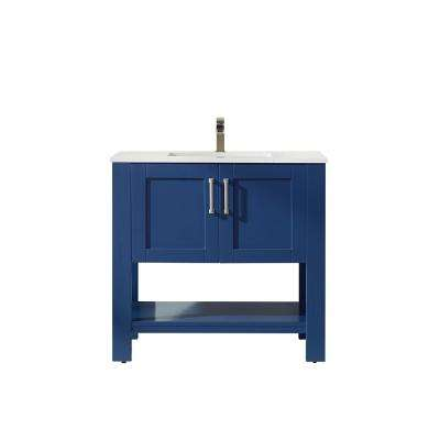 Grayson 36 in. Bath Vanity in Blue with Manufactured Stone Vanity Top in White with White Basin