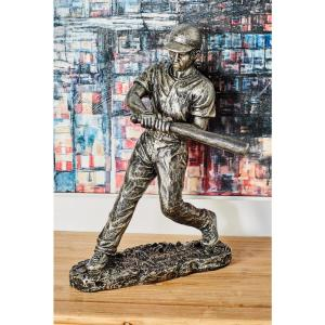 Baseball Player in Hitting Position Polystone Sculpture in Silver