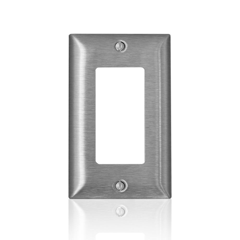 Leviton Leviton 1-Gang C-Series Decora/Decora Plus/GFCI Wallplate, Standard Size, Magnetic Stainless Steel, Silver