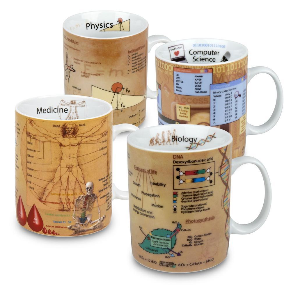 Konitz 4-Piece Assorted Mugs of Knowledge Biology, Computer Science, Medicine, & Physics Porcelain Mug Set