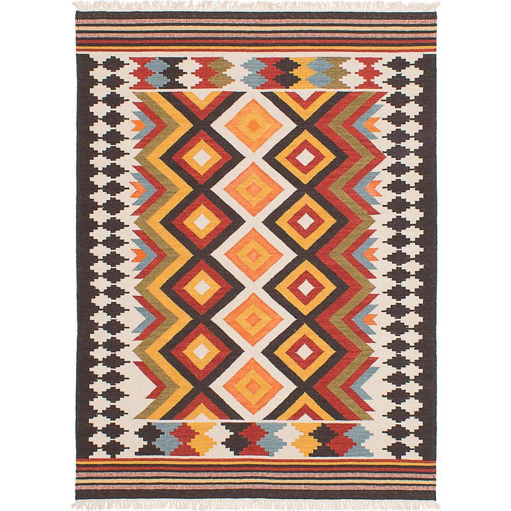Kilim Rug Cream: ECarpet Gallery Mamaris Cream, Orange Wool Kilim 8 Ft. X