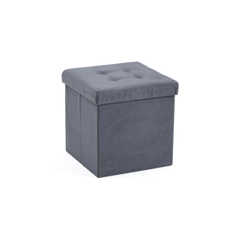 Cube, Foldable, Suede, Storage  Grey Ottoman