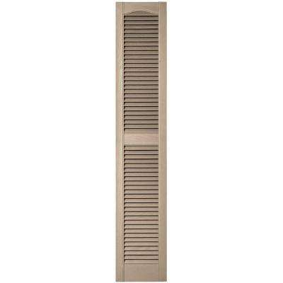 12 in. x 64 in. Louvered Vinyl Exterior Shutters Pair in #023 Wicker