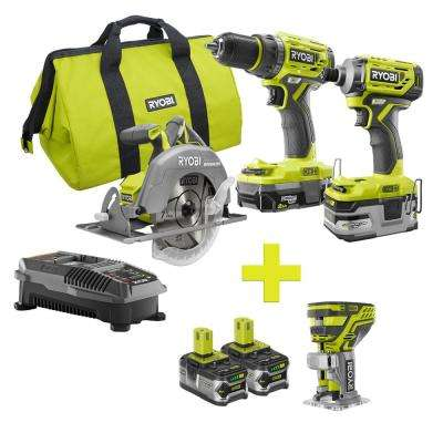 18-Volt ONE+ Lithium-Ion Cordless Brushless Combo Kit (3-Tool) w/Bonus Fixed Base Trim Router with (2) 4Ah Batteries