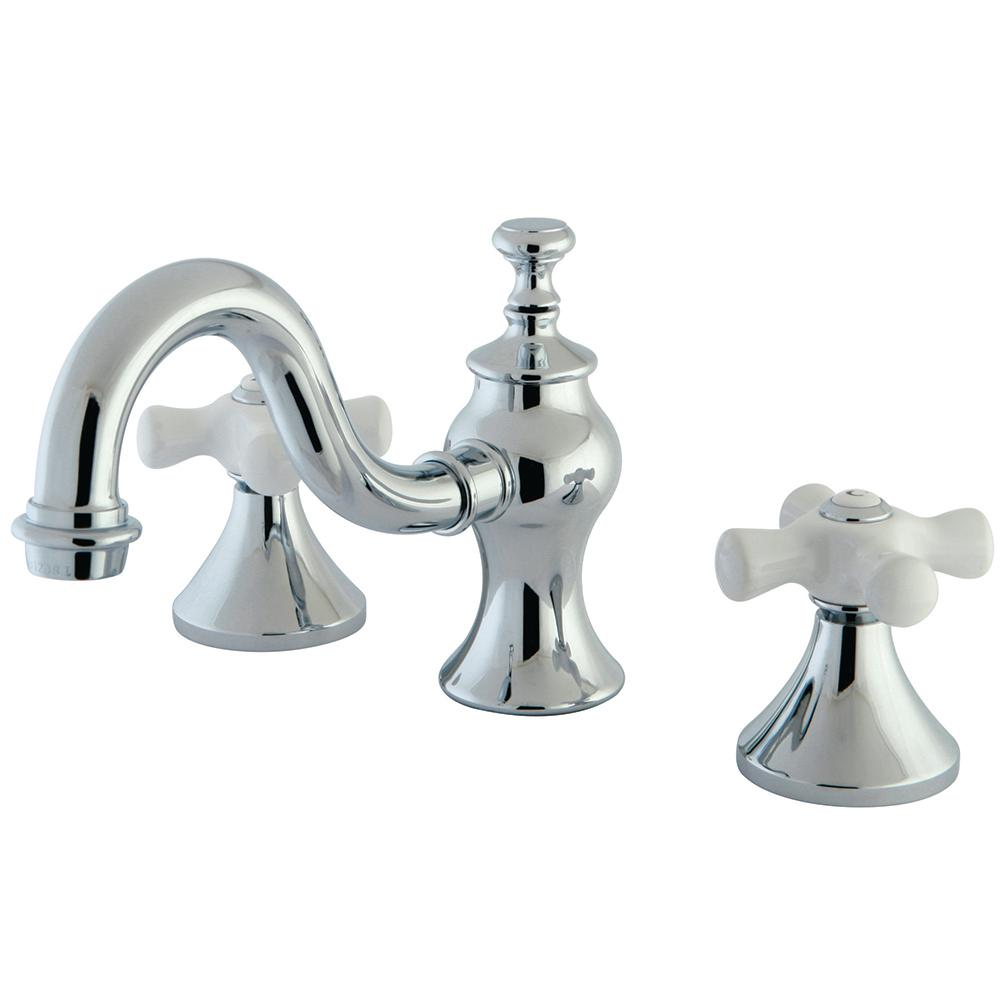 Porcelain Cross 8 in. Widespread 2-Handle High-Arc Bathroom Faucet in Chrome