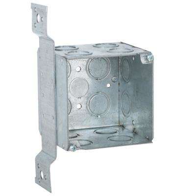 3-3/4 in. Square Welded Box, 3-1/2 Deep with 1/2 and 3/4 in. Concentric KO's and FM Bracket (10-Pack)