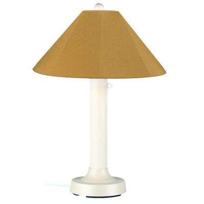 Seaside 34 in. Outdoor White Table Lamp with Brass Shade