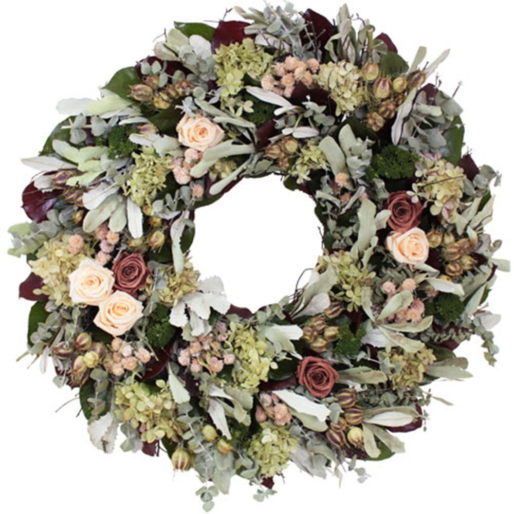 The Christmas Tree Company Coral Rose 22 in. Dried Floral Wreath